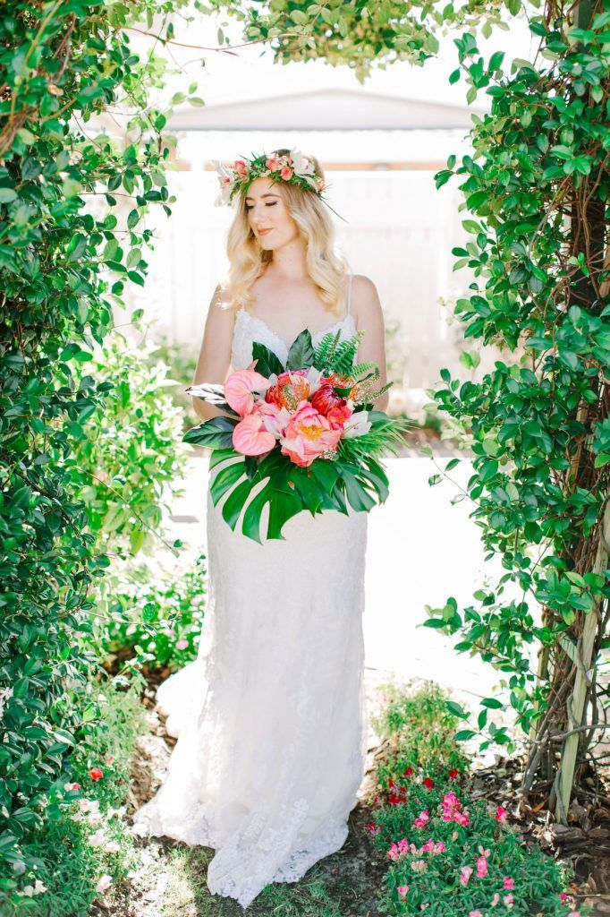 bride with beautiful floral