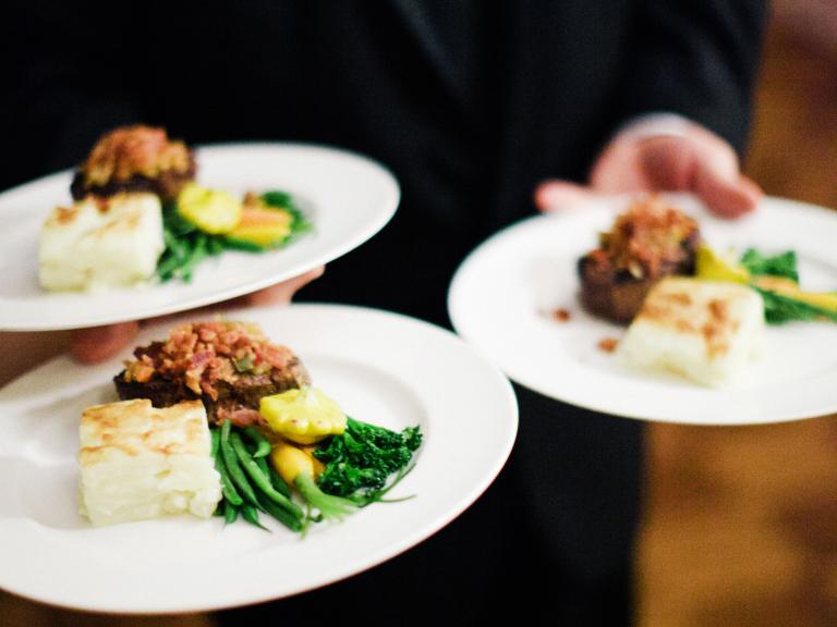 plated meal served by staff