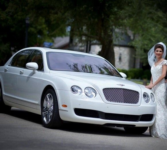white classic car with bride