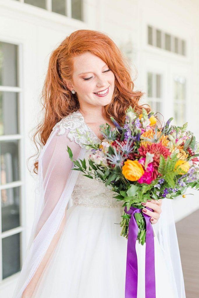 bride holding floral