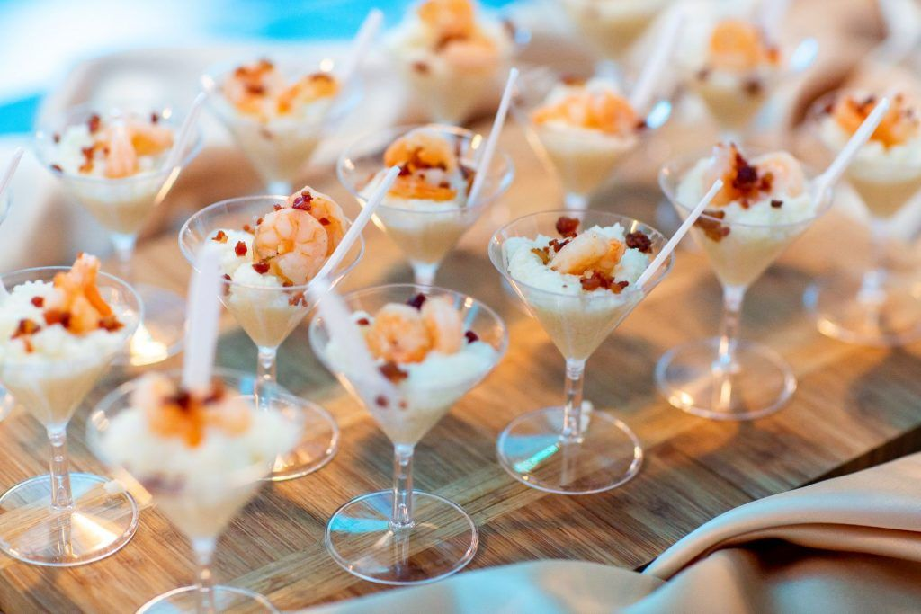 shrimp and grits appetizer by John Michael Catering