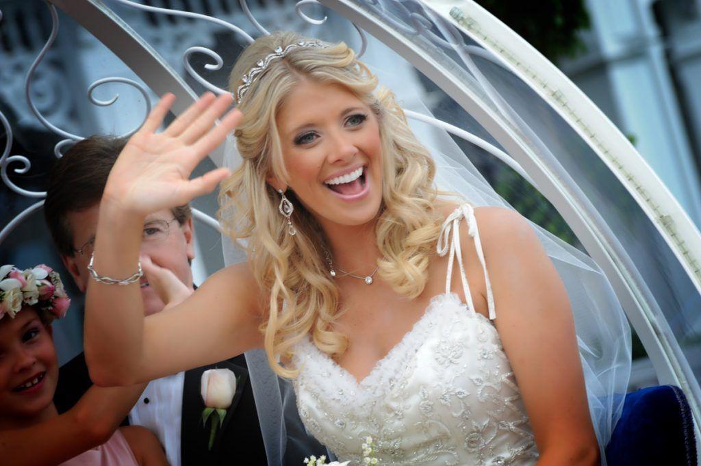 beautiful bride waving