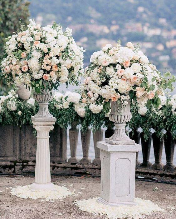 tall white floral columns