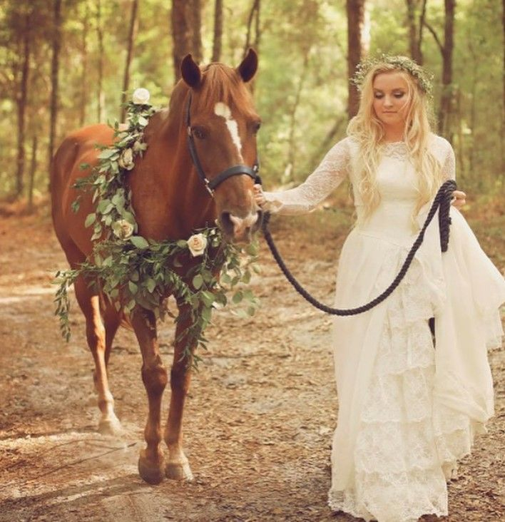 bride with horse and floral