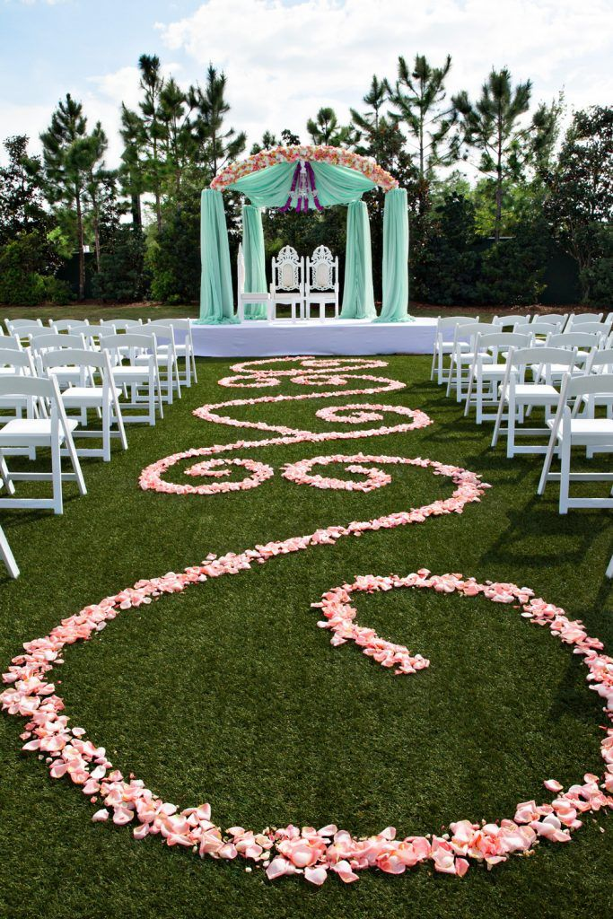outside ceremony floral swirls