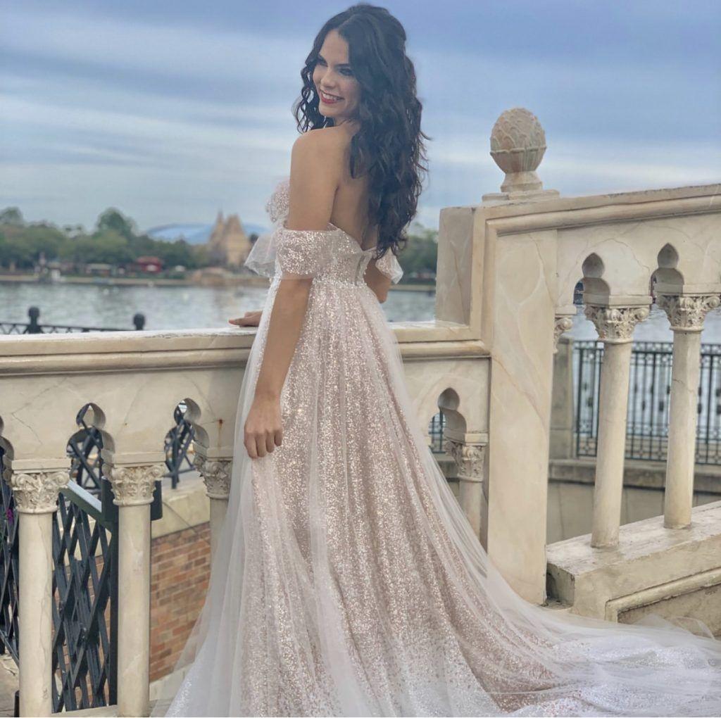 bride in beautiful sparkle dress