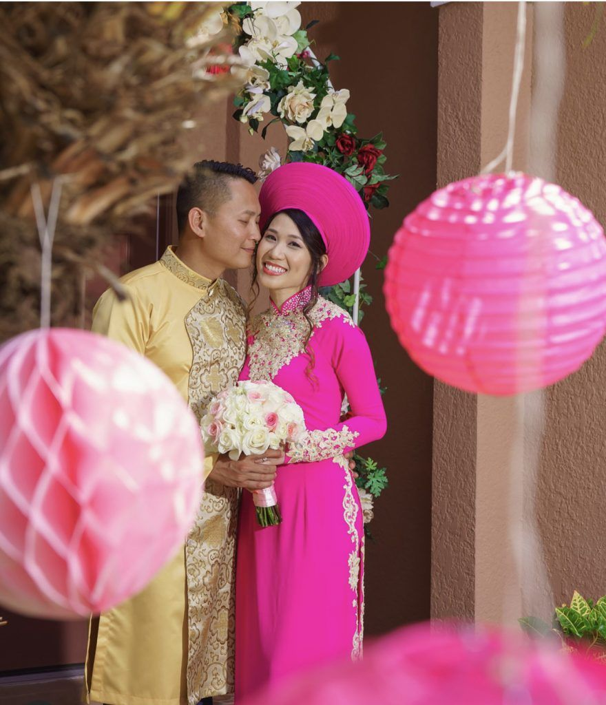 Asian bride and groom all smiles