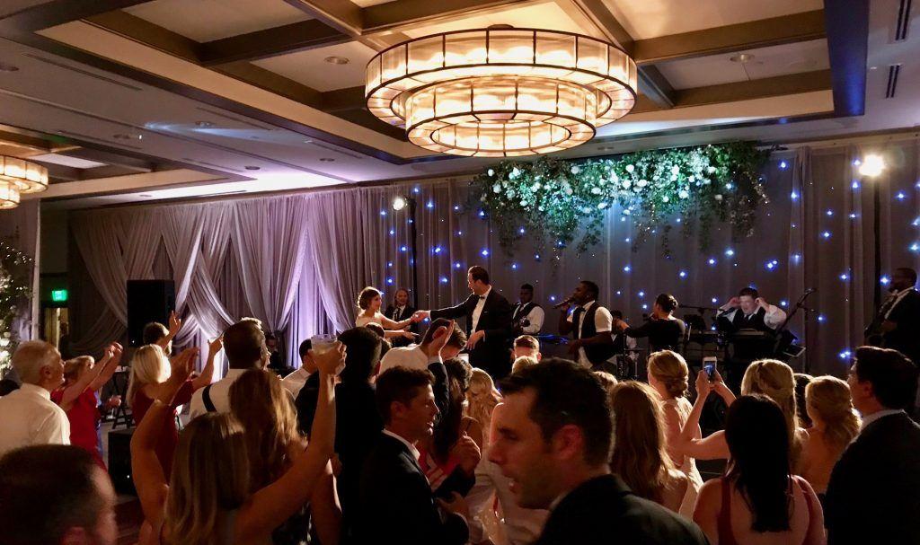 band playing at a wedding