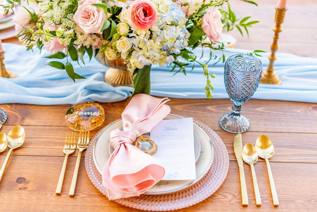 soft pink spring table decor
