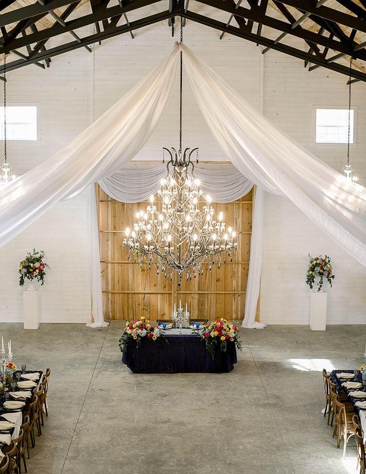 chandelier over reception set up