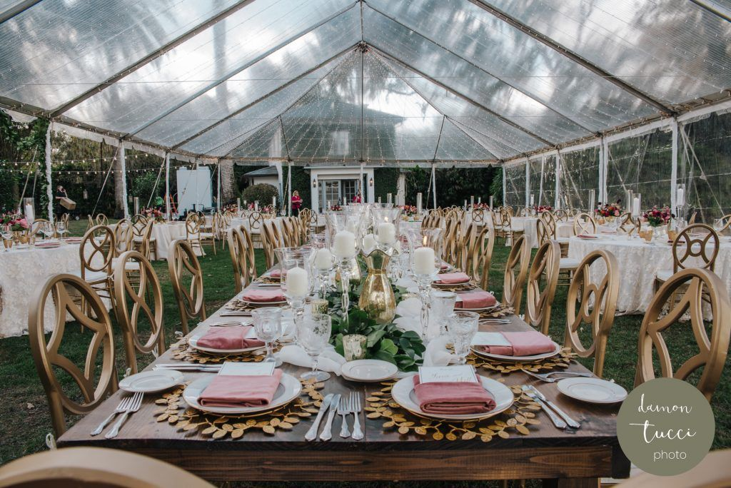 wedding reception under clear tent