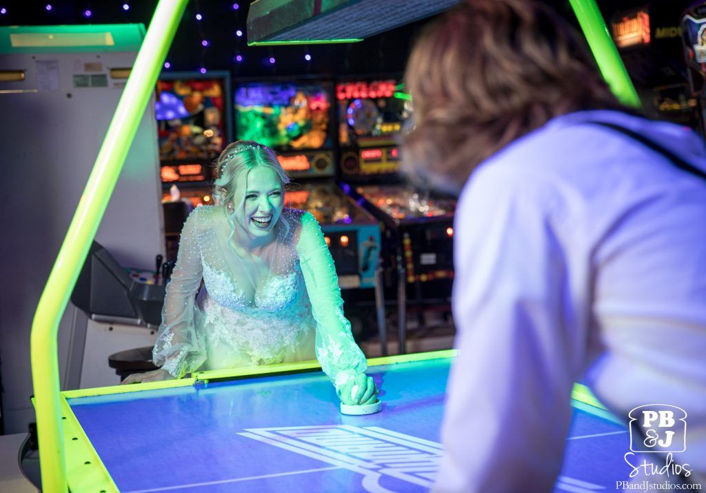 arcade fun for bride and groom