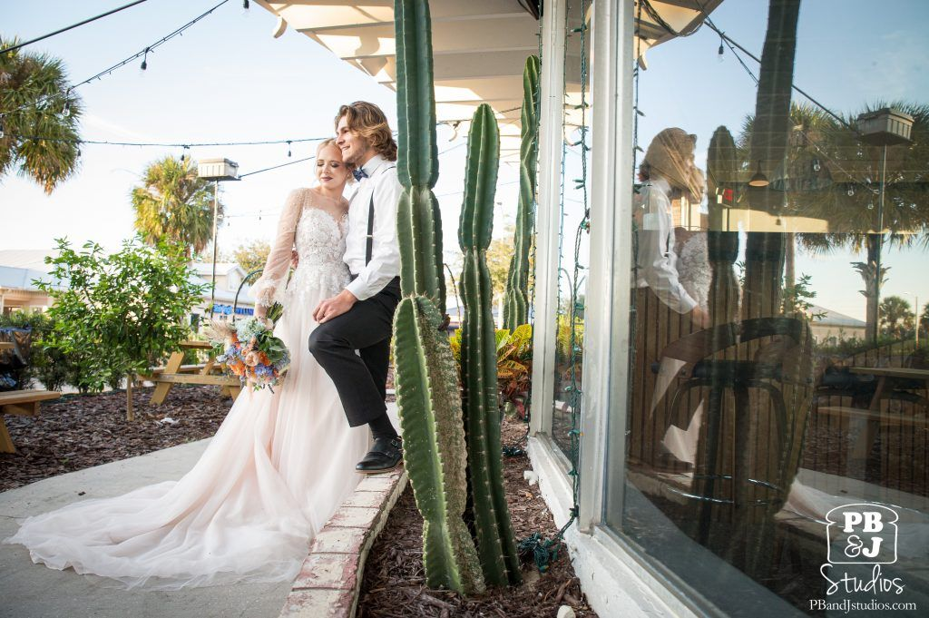 Bride and Groom outside Historic Florida Wedding Venue
