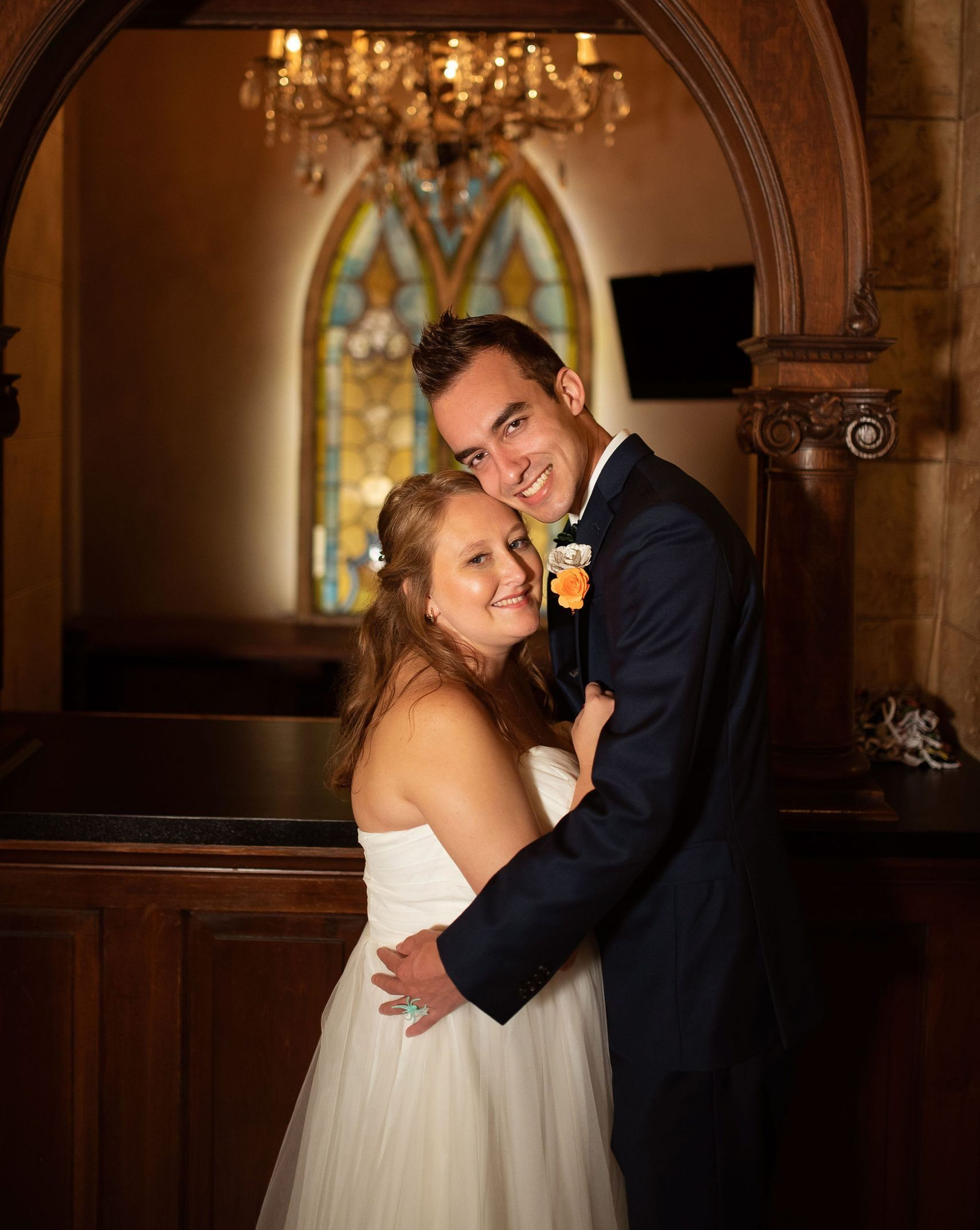 bride and groom standing in st augustine church