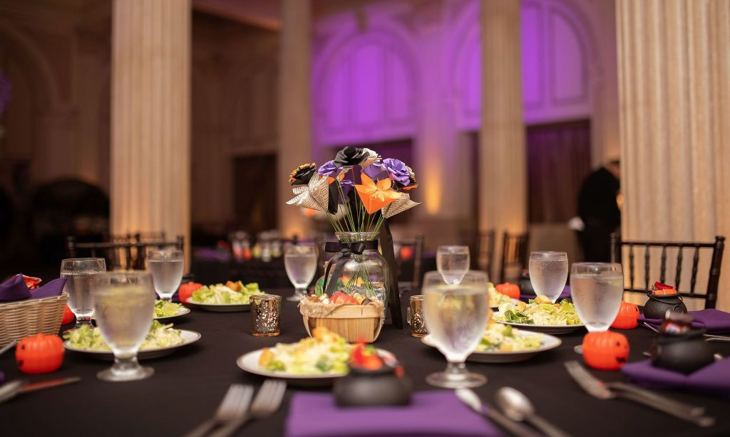 black table linen to set bright wedding colors