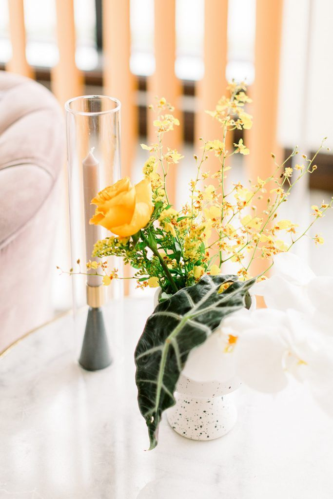 simple yellow wedding floral detail