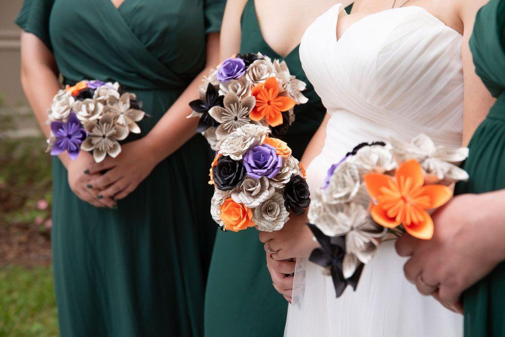purple orange and white wedding bouquets