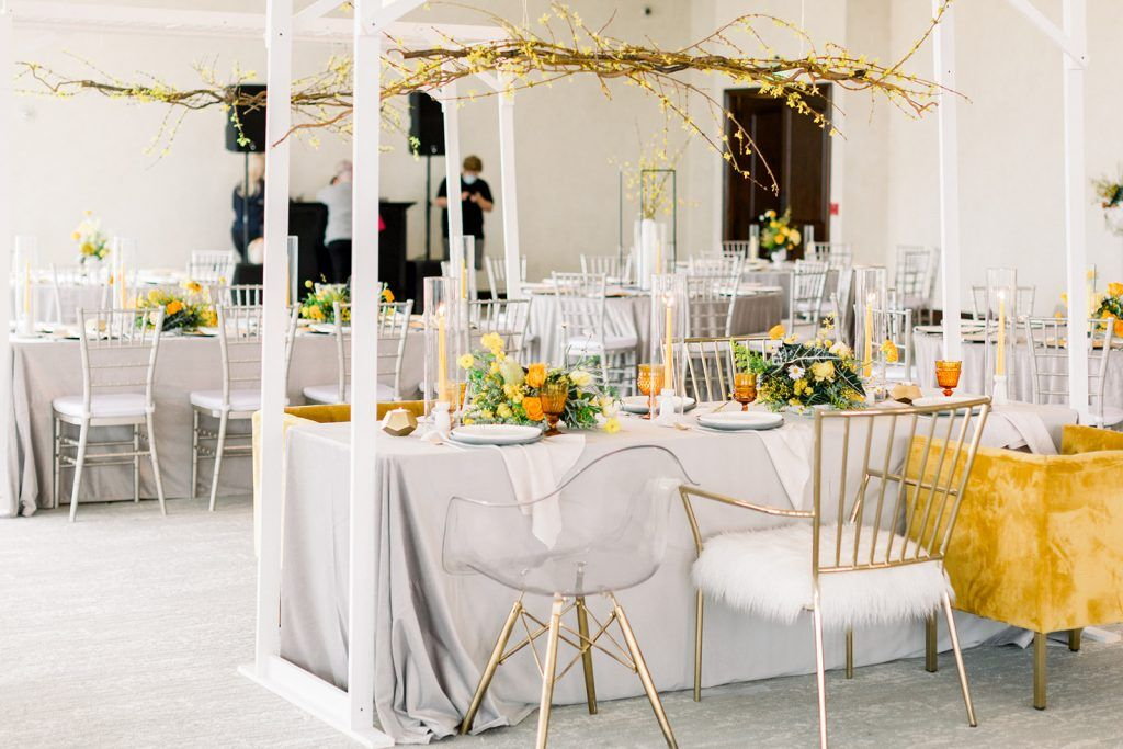 wedding colors ideas for grey and yellow