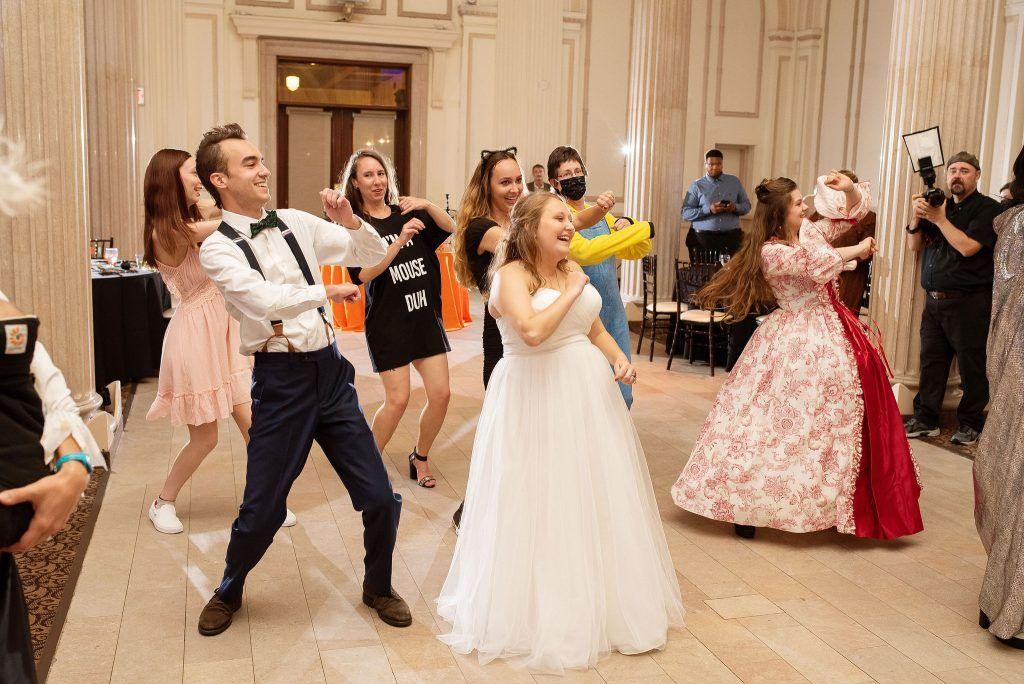 wedding guests wear halloween costumes