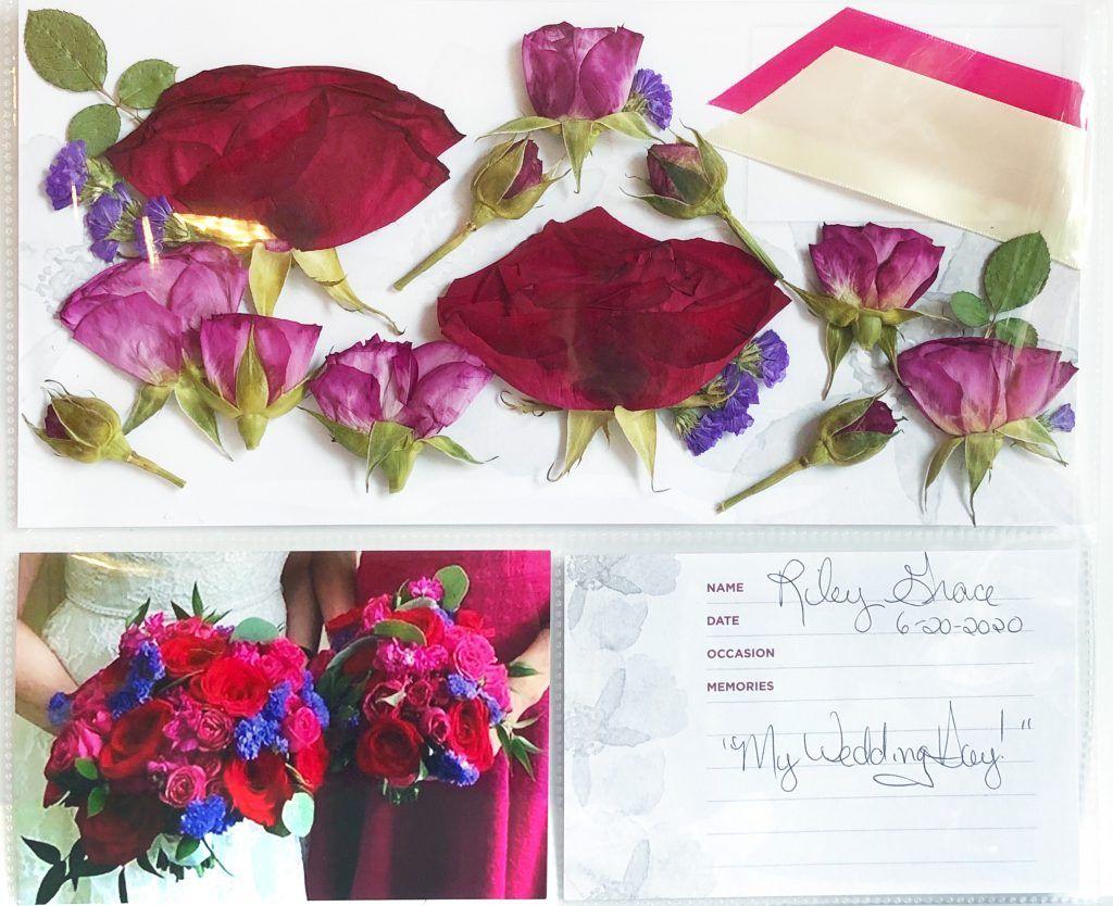 preserved wedding bouquet red, blue, purple