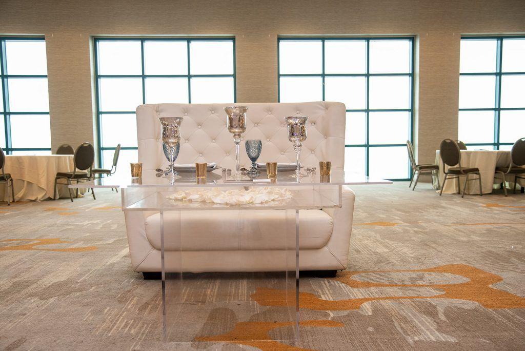 sweetheart table set by wedding expo sponsor