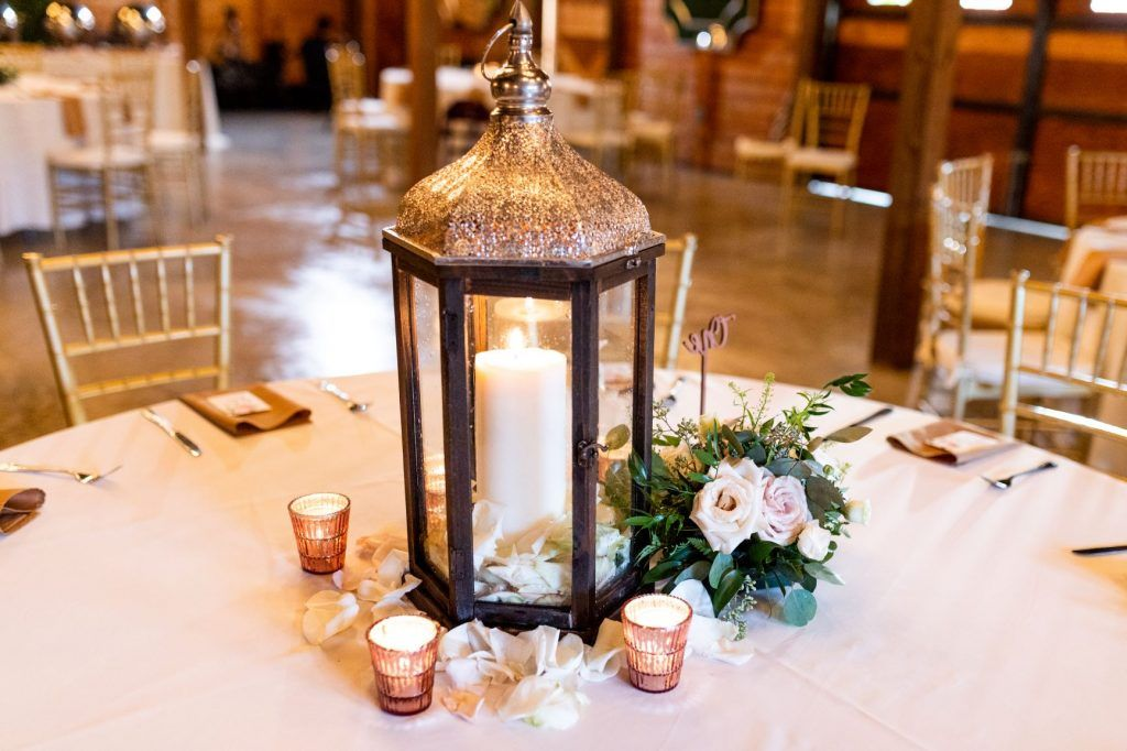 lantern wedding centerpiece at Florida Barn Wedding