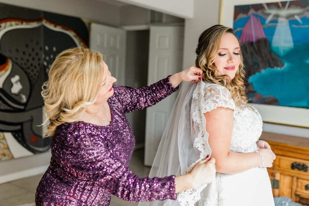 Mother and Daughter Bride getting ready photo