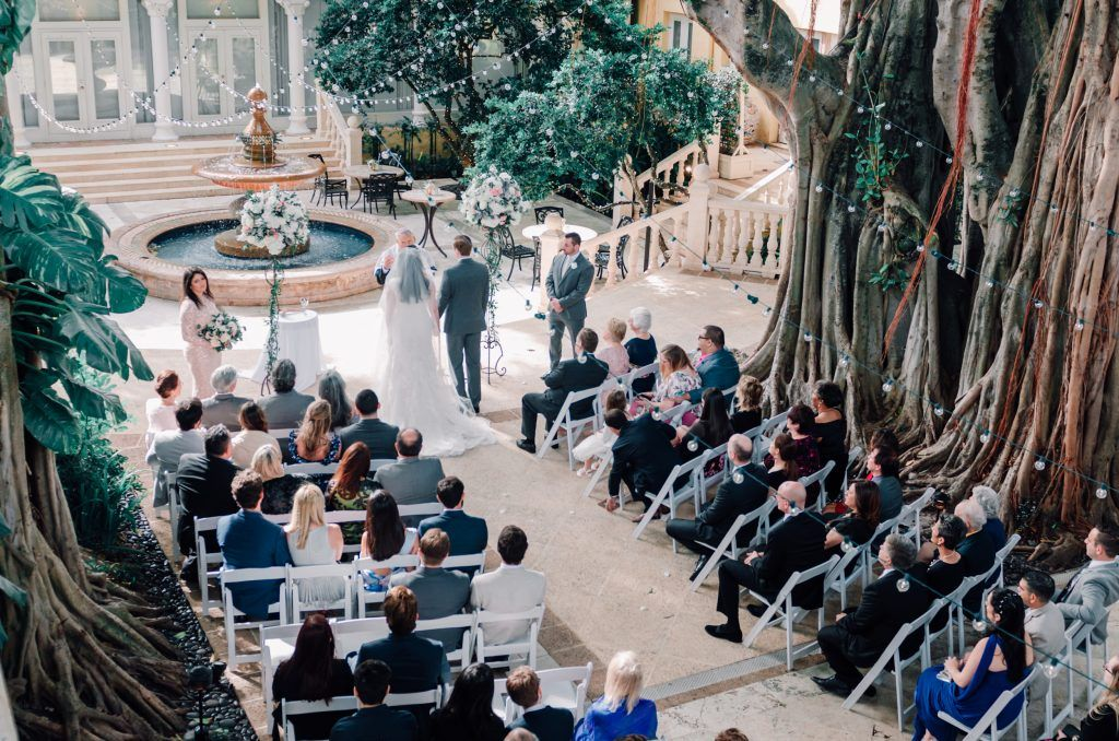 wedding ceremony in front of fountain