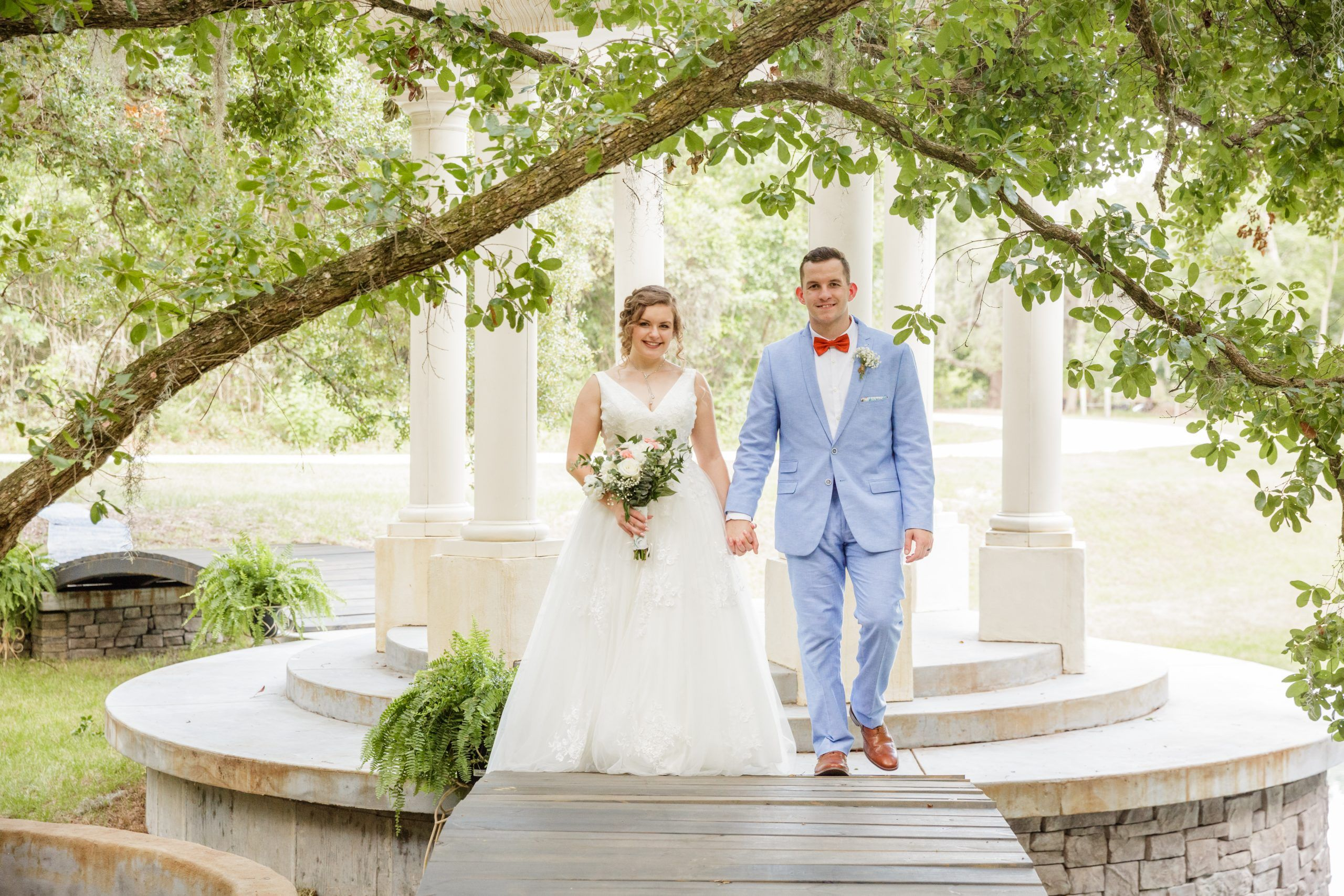 married under a tree at backyard wedding